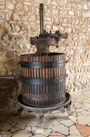 treading: Old Wine Press. Traditional old Technique of Wine Making,