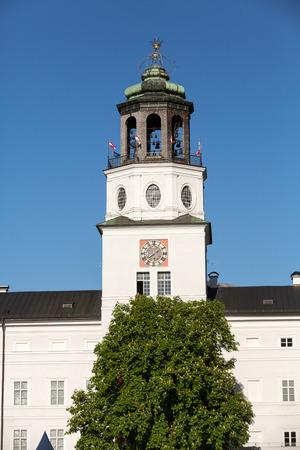 residenz: The Neue Residenz Clock Tower in Salzburg . Austria Editorial