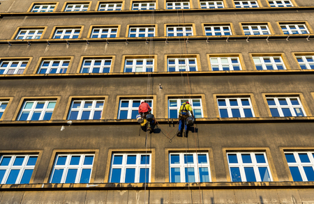 Work at height for the restoration of facade in Cracow. Poland Stock Photo