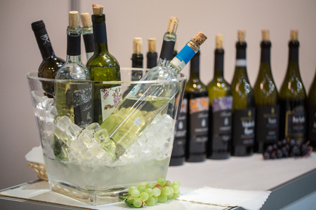 retailers: CRACOW, POLAND - NOVEMBER 17, 2016:  International Wine Trade Fair ENOEXPO in Cracow is a professional event dedicated to wine. Every year the producers of wine from all around the world meet the importers, distributors and representatives. Cracow. Poland