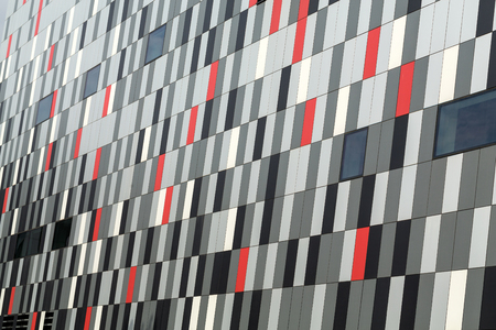 congress center: CRACOW, POLAND - FEBRUARY 14, 2016: Part of ceramic exterior facade of ICE Krakow Congress Center, Kraków, Poland. Architect: Ingarden & Ewy, Ararta Isozak
