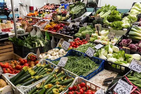 PADUA, ITALY - MAY 3, 2016: Fruit and vegetable market stall in Padua, Veneto, Italy,