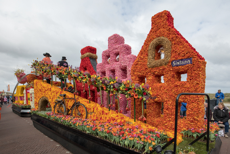 NOORDWIJK, NETHERLANDS - 22 APRIL 2017: Platform with  tulips and hyacinths during the traditional flowers parade Bloemencorso from Noordwijk to Haarlem in the Netherlands. Editorial