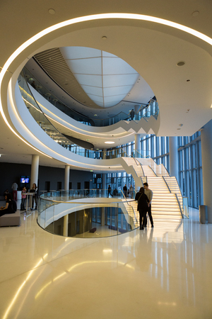 CRACOW, POLAND - FEBRUARY 27, 2016: Foyer with staircase. ICE Krakow Congress Center, Cracow, Poland. Architect: Ingarden & Ewy, Ararta Isozaki Editorial
