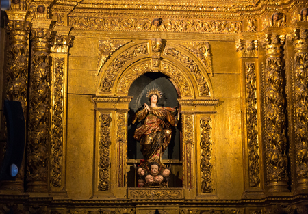 FUNCHAL, MADEIRA, PORUGAL - SEPTEMBER 1, 2016:  Sao Pedro church interior in Funchal on Madeira . Portugal