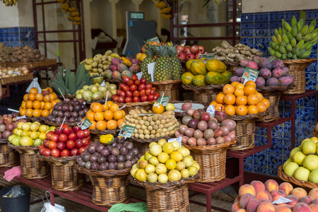 Fresh exotic fruits in Mercado Dos Lavradores. Funchal, Madeira, Portugal