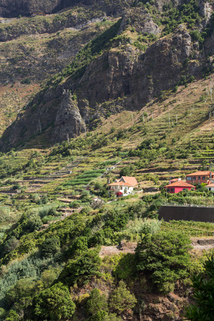 isles: Village and Terrace cultivation in the surroundings of Sao Vicente. North coast of Madeira Island, Portugal