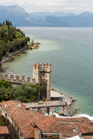 The holiday resort town of Sirmione on Lake Garda, Lombardy, Italy.