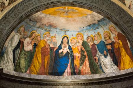 VERONA, ITALY - MAY 1, 2016 - Interior of SantAnastasia Church in Verona, Italy. SantAnastasia is a church of the Dominican Order in Verona, it was built in 1280 -1400 Editorial