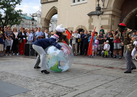 CRACOW, POLAND - JULY 5, 2017: 30th Street - International Festival of Street Theaters in Cracow, Poland.  An Odyssey Towards New Shores – a street parade