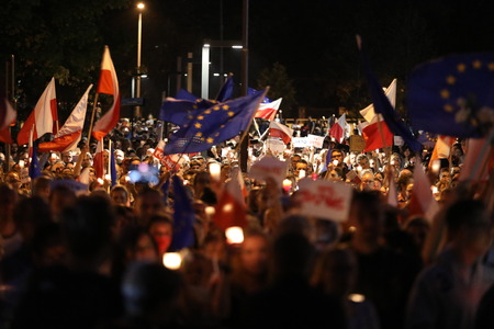 Thousands of government opponents protested in Cracow against new judicial reforms and future plans to change the Supreme Court. Cracow. poland