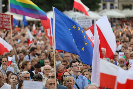 CRACOW, POLAND - JULY 23, 2017: Another day in Cracow  thousands of people protest against violation the constitutional law in Poland. Defense of the triad of division of power, free election and independence of the highest court in Poland