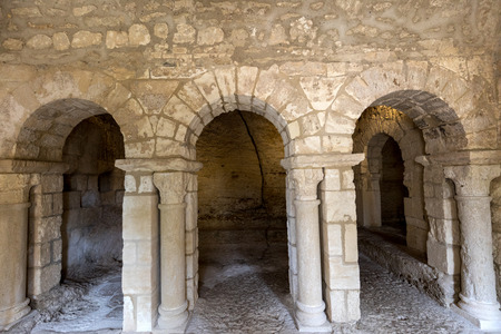 cloister: Romanesque Chapel of St. Peter in Montmajour  Abbey    near Arles, France