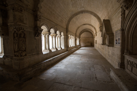 Cloisters in the  Abbey of St. Peter in Montmajour near Arles, France