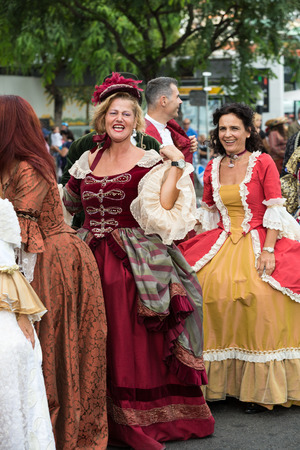 historical events: FUNCHAL, MADEIRA, PORTUGAL - SEPTEMBER 4, 2016: Madeira Wine Festival - Historical and Ethnographic parade in Funchal on Madeira. Portugal