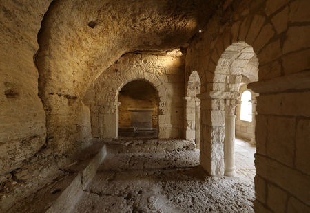 MONTMAJOUR, FRANCE - JUNE 26, 2017: Romanesque Chapel of St. Peter in Montmajour  Abbey    near Arles, France Editorial