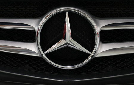 CRACOW, POLAND - MAY 20, 2017: Mercedes metallic logo closeup on Mercedes   car displayed at 3rd edition of MOTO SHOW in Cracow Poland. Exhibitors present  most interesting aspects of the automotive industry