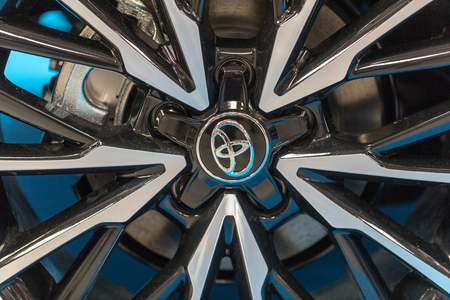 CRACOW, POLAND - MAY 20, 2017: The wheel of Toyota  displayed at 3rd edition of MOTO SHOW in Cracow Poland. Exhibitors present  most interesting aspects of the automotive industry