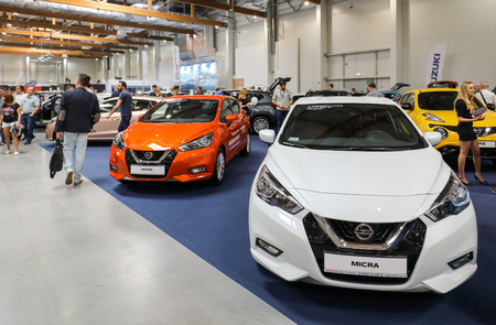 CRACOW, POLAND - MAY 20, 2017: Nissan Micra displayed at 3rd edition of MOTO SHOW in Cracow Poland. Exhibitors present  most interesting aspects of the automotive industry