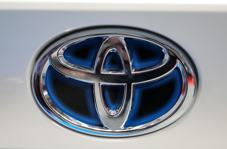 CRACOW, POLAND - MAY 20, 2017: Toyota metac logo closeup on the Toyota  car displayed at 3rd edition of MOTO SHOW in Cracow Poland. Exhibitors present  most interesting aspects of the automotive industry