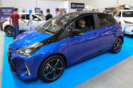 CRACOW, POLAND - MAY 20, 2017: Toyota Yaris Hybrid displayed at  MOTO SHOW in Cracow Poland. Exhibitors present  most interesting aspects of the automotive industry