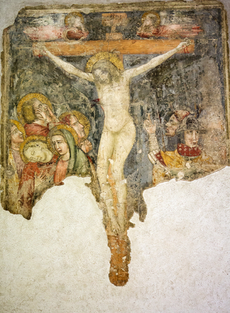 VERONA, ITALY - MAY 1, 2016: Crucified, fresco in Castelvecchio Museum. Verona, Italy