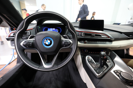 CRACOW, POLAND - MAY 20, 2017: Interior Design of BMW i8 displayed at  MOTO SHOW in Cracow Poland. Exhibitors present  most interesting aspects of the automotive industry