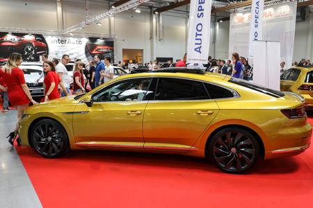 CRACOW, POLAND - MAY 20, 2017: Volkswagen Arteon displayed at  MOTO SHOW in Cracow Poland. Exhibitors present  most interesting aspects of the automotive industry