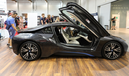 New BMW i8 electric car displayed at 3rd edition of MOTO SHOW in Krakow. Poland presents the most interesting aspects of the automotive industry