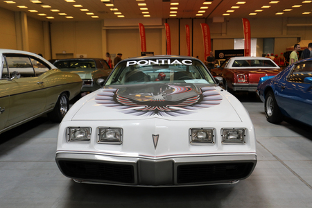 Pontiac Trans Am show at 3rd edition of MOTO SHOW in Krakow. Poland. Exhibitors present most interesting aspects of the automotive industry