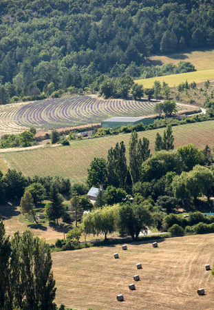 patchwork: Patchwork of Farmers fields in valley below Sault, Provence France Stock Photo