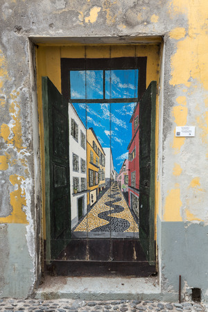 FUNCHAL,MADEIRA, PORTUGAL, SEPTEMBER 4, 2016: Zone Velha - the oldest district famous for its best restaurants and cafes in Funchal. Madeira, Portugal