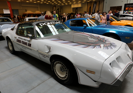 CRACOW, POLAND - MAY 20, 2017: Pontiac Trans Am displayed at 3rd edition of MOTO SHOW in Krakow. Poland. Exhibitors present  most interesting aspects of the automotive industry
