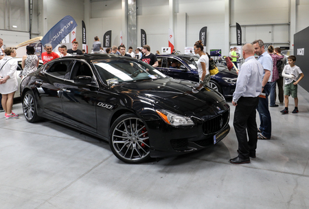 CRACOW, POLAND - MAY 20, 2017: Maserati displayed at  MOTO SHOW in Cracow Poland. Exhibitors present  most interesting aspects of the automotive industry