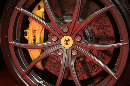 CRACOW, POLAND - MAY 20, 2017: The wheel of Ferrari displayed at 3rd edition of MOTO SHOW in Cracow Poland. Exhibitors present  most interesting aspects of the automotive industry
