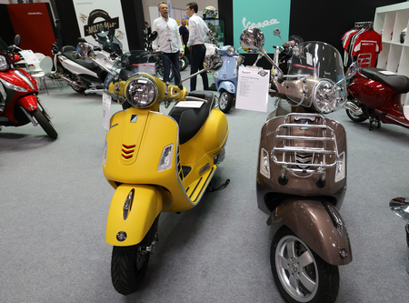 CRACOW, POLAND - MAY 20, 2017: Vespa scooter displayed at MOTO SHOW in Krakow. Poland. Exhibitors present  most interesting aspects of the automotive industry Editorial