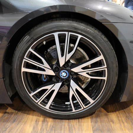 CRACOW, POLAND - MAY 20, 2017: The wheel of BMW  displayed at 3rd edition of MOTO SHOW in Cracow Poland. Exhibitors present  most interesting aspects of the automotive industry Editorial