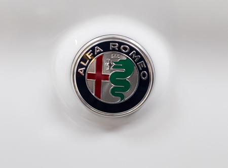 Cracow Poland May 20 2017 Alfa Romeo Metallic Logo Closeup