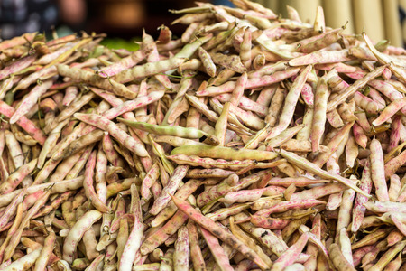 Canberry beans (aka rosecoco bean) for sale at a market in Funchal on Madeira Archivio Fotografico