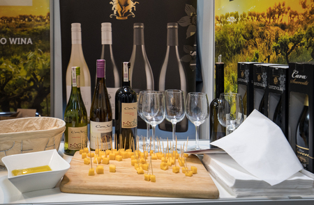 CRACOW POLAND - NOVEMBER 16 2017: International Wine Trade Fair ENOEXPO in Cracow. Producers of wine from all around the world meet the importers distributors and representatives. Cracow. Poland Editorial