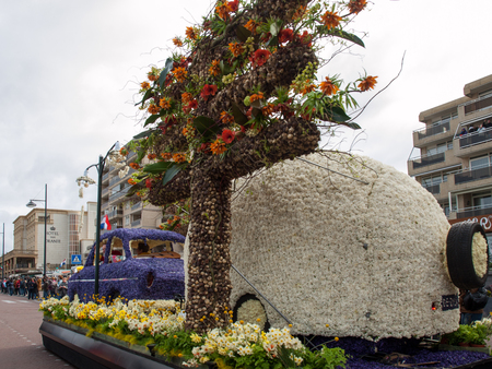NOORDWIJK, NETHERLANDS - 22 APRIL 2017: the traditional flowers parade Bloemencorso from Noordwijk to Haarlem in the Netherlands.