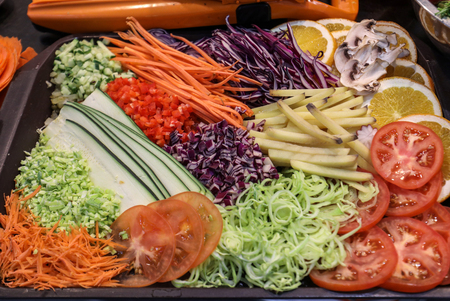 Different raw shredded vegetables as an example of a healthy diet Stock Photo
