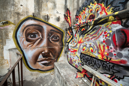 Funchal, Portugal - September 8, 2016: Funchal Old Town (Zona Velha), painted wall by local artist, Madeira Island, Portugal