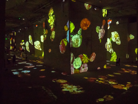 Les Baux, France - June 26, 2017: The Fantastic and Wonderful World of Bosch, Brueghel and Arcimboldo. The show lasts about thirty minutes and contains over 2,000 digital images displayed on an area of 7,000 m2 in the Carrières de Lumières with countless  Editorial