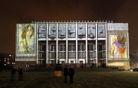 Cracow, Poland - February 3, 2018: Mapping on the facade of the National Museum inspired by the painting of Stanislaw Wyspianski. Krakow, Poland Sajtókép