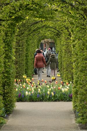 LISSE, NETHERLANDS - APRIL 19, 2017: Visitors at the Keukenhof Garden in Lisse, Holland, Netherlands.