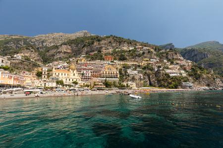 Positano, Italy - June 13, 2017: Positano seen from the sea on Amalfi Coast in the region Campania, Italy