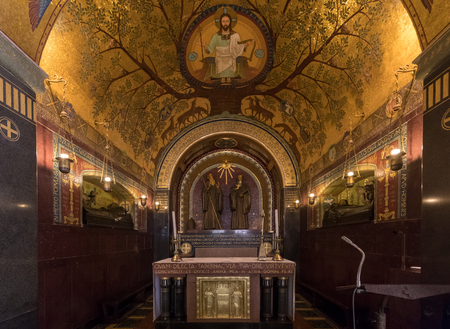 Montecassino, Italy - June 17, 2017: Crypt Inside the Basilica Cathedral at Monte Cassino Abbey. Italy