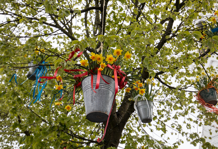 Noordwijkerhout, Netherlands - April 23,  2017: Decorations with hanging pails with yellow daffodils at the traditional flowers parade Bloemencorso from Noordwijk to Haarlem in the Netherlands Editöryel