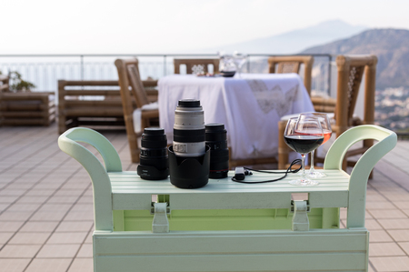 Lenses ready for a photo session on the terrace with a view of the Bay of Naples and Vesuvius